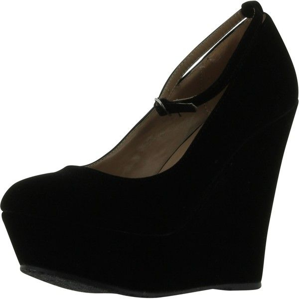 Black Faux Suede Round Toe Ankle Strap Cover Platform Wedge Shoes ($29) ❤ liked on Polyvore featuring shoes, black, wedge heel shoes, wide shoes, black flat shoes, flat pumps and ankle strap flats