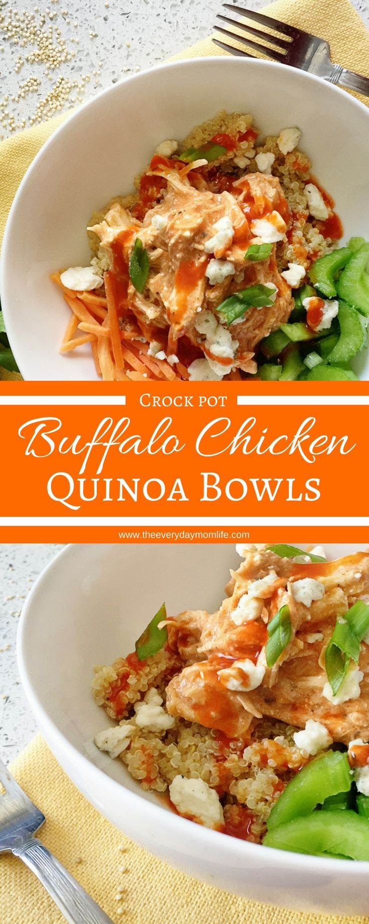 Buffalo Chicken Quinoa Bowls recipe spices up dinner with that tangy and fun taste of buffalo. Make the chicken in the crock pot and then top any number of things. This is great for leftovers and a great family dinner.
