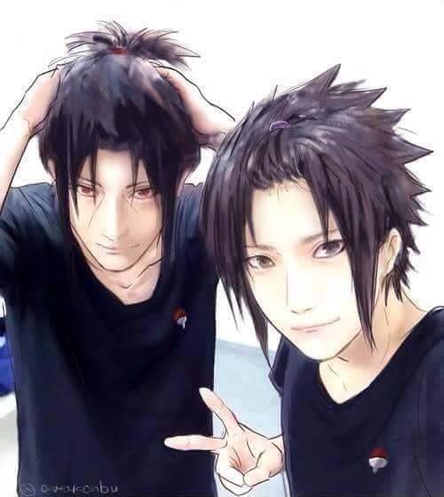 Itachi and Sasuke: Pin back hair selfie day!