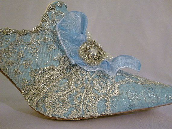 Marie Antoinette themed wedding shoes in blue by tlccreationsuk, $305.00