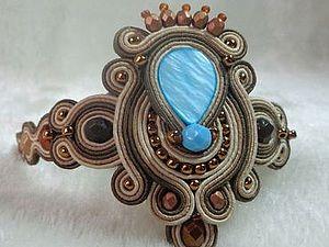 Создаем сутажный браслет с голубым перламутром | Ярмарка Мастеров - ручная работа, handmade