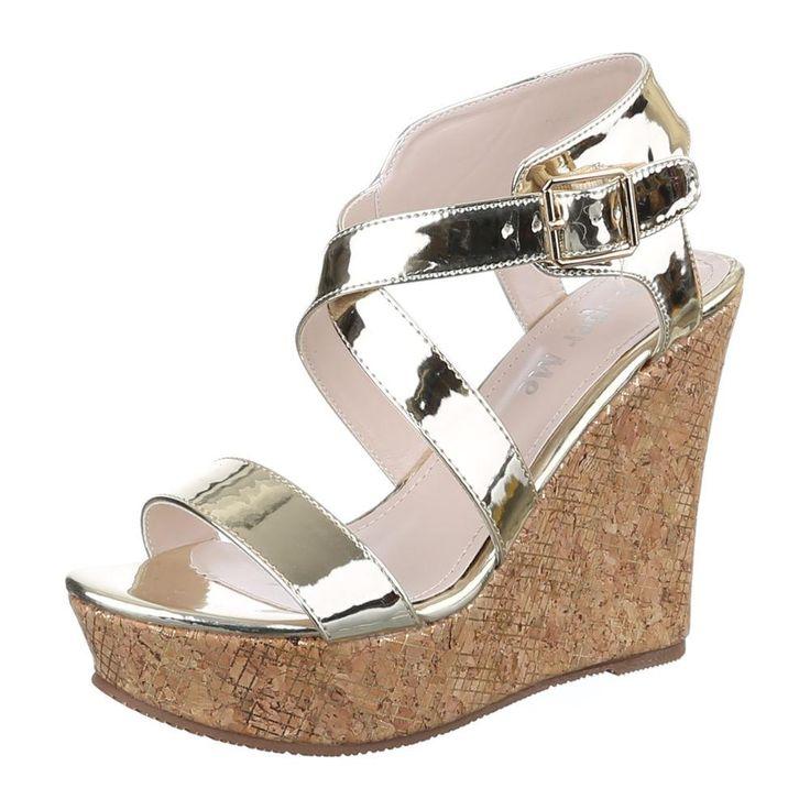 Damen Schuhe Sandaletten Keil Pumps Mit Riemchen Gold 41