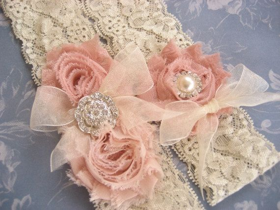 Vintage Bridal Garter Wedding Garter Set Toss Garter included Dusty Rose Ivory with Rhinestones and Pearls Custom Wedding colors. $27.00, via Etsy.