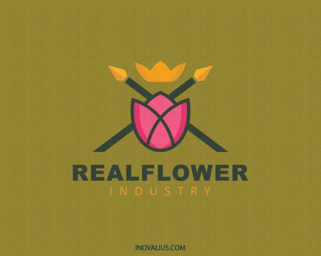Real Flower is a stylized logo in the shape of a flower together with spears and a crown with the colors pink, green, and yellow.(Industry, real, flower, crown, spear, tulip, beauty, petals, consulting, nature, game, flower delivery, florist, marketing strategy,  logo for sale, logo design, logo, lototipo, logotype).