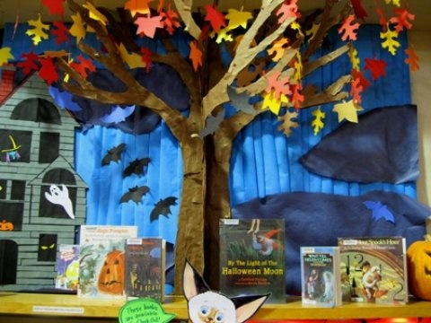 Halloween book display sp reading pinterest for Space themed book corner