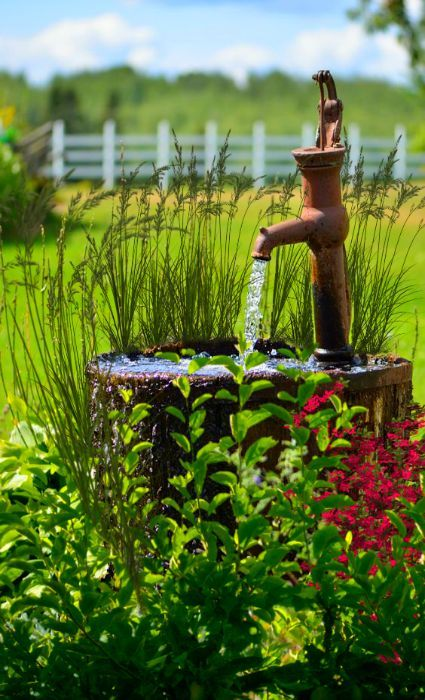 country garden. I had the thought the other day that you could divert gutter water to a large underground tank and then hand pump it like above to irrigate your garden daily.