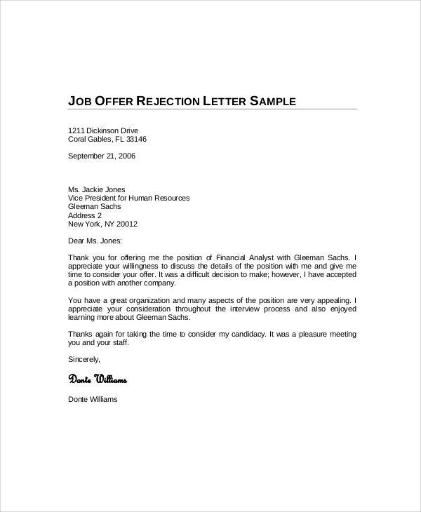Job Offer Rejection Letter Job Rejection Rejection Job Letter