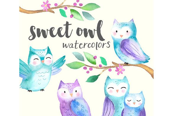 Sweet Baby Owls Watercolor Set by PaperSphinx on @creativemarket