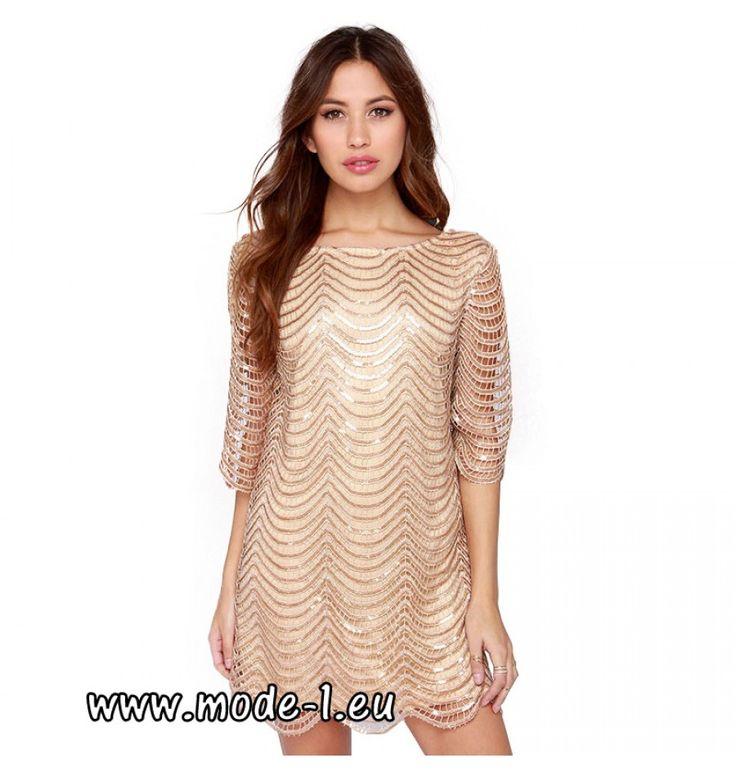 Hängerchen Pailletten Kleid Party Kleid in Beige