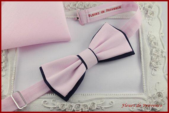 Set Noeud Papillon Double et Pochette costume assortie Tissu Rose et bleu marine - Homme / enfant / bebe