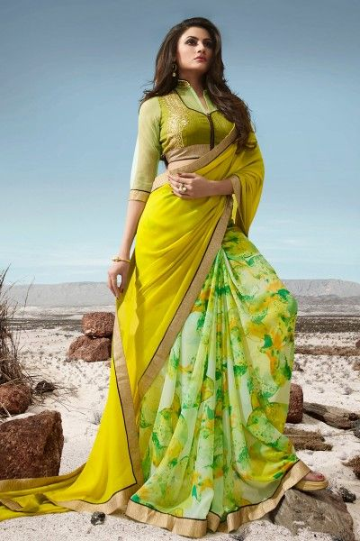 #Embroidered #jacquard And #Georgette Fabric #PartyWear #Designer Saree in #Yellow Color