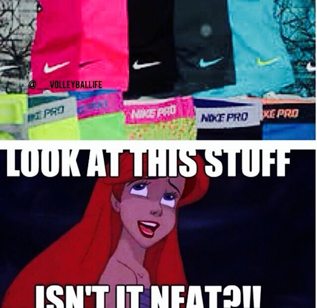 Ariel Disney/ volleyball humor/ spandex/ every time I walk into Sports authority