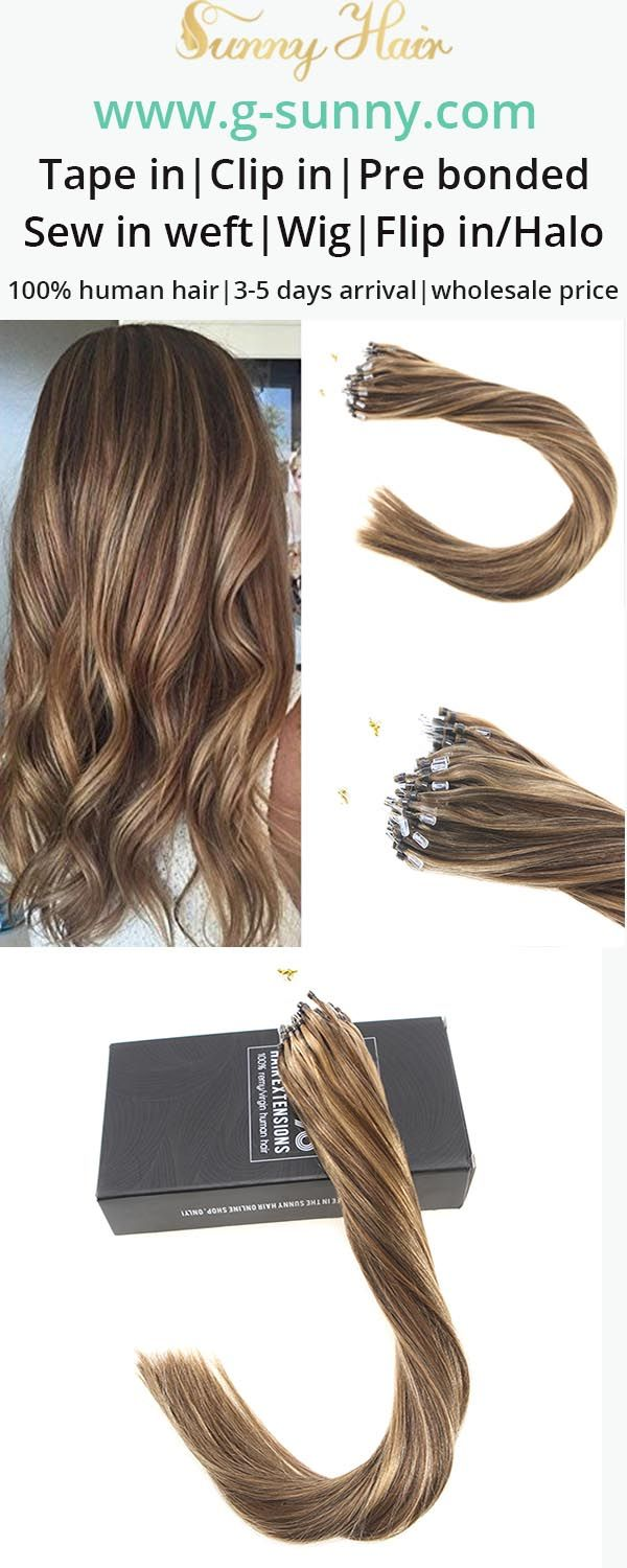 Sunny Hair 100% remy human hair extensions, micro ring human hair extensions. Brown highlight blonde color hair. Factory directly selling with wholesale price. www.g-sunny.com