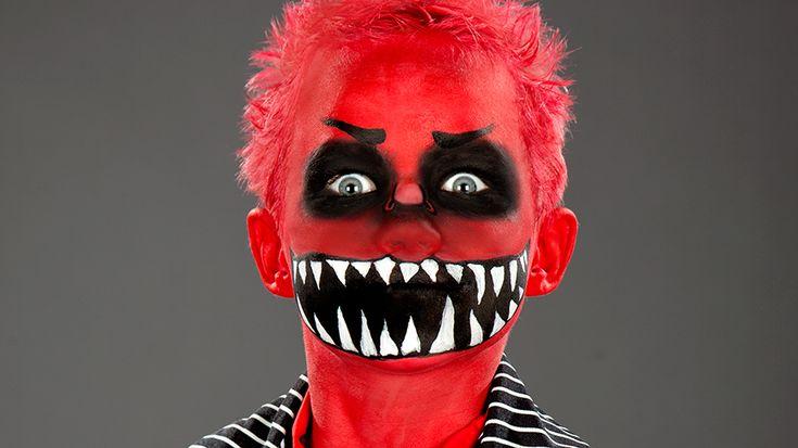 Halloween Kinder Make-up für eine rotes Fressmonster