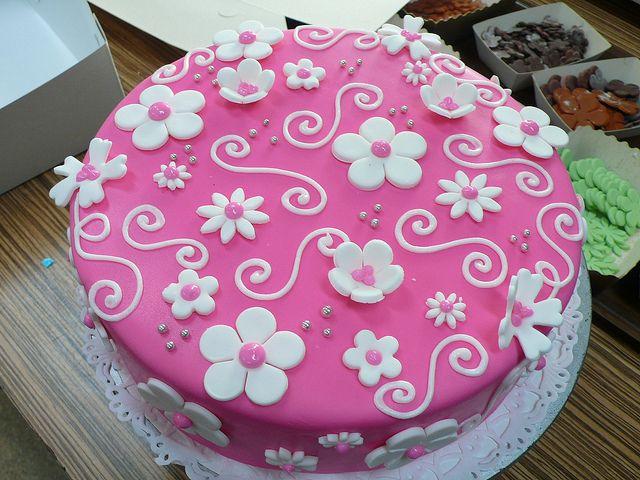 Hot pink white flowers birthday cake | Flickr - Photo Sharing!
