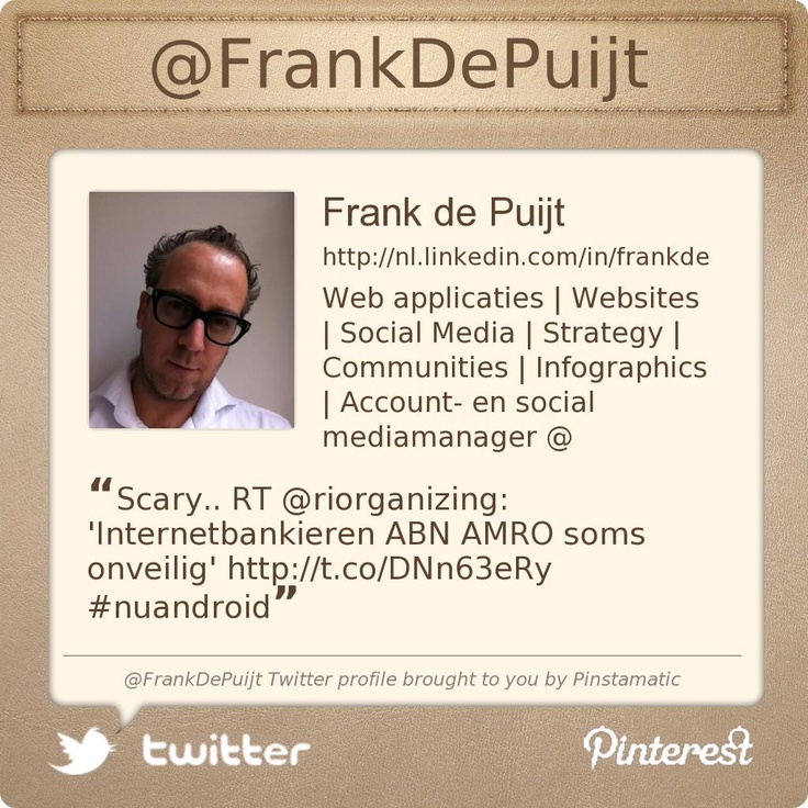 @FrankDePuijt's Twitter profile courtesy of @Pinstamatic (http://pinstamatic.com)