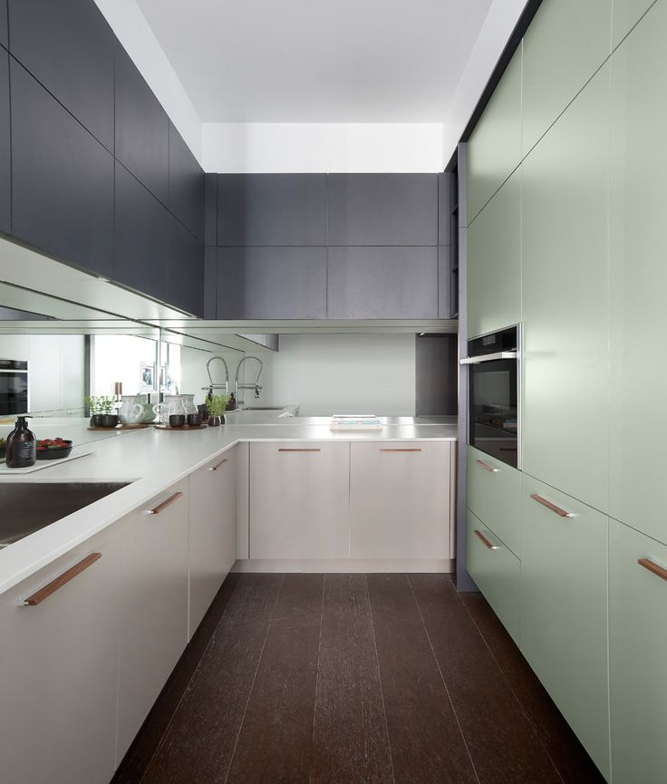 """""""BAYE"""" lower cabinets with Fresh Concrete counter top.   The Block 2016: Apartment Three - Andy & Ben - Freedom Kitchens"""