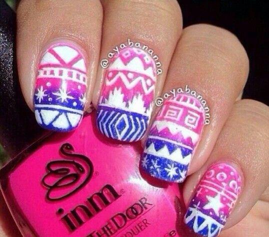 White blue pink nail art