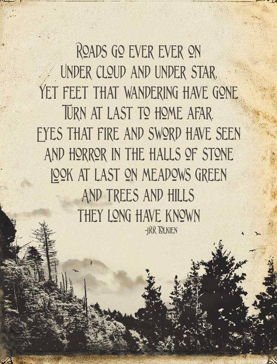 Tolkien Art Quote The Hobbit Mountains & Trees by pjeanartmachine
