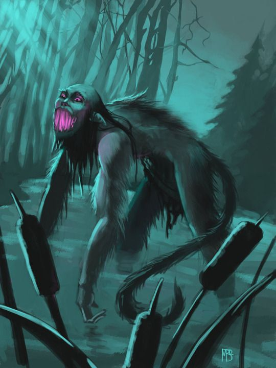 The Bolotnik in Slavic mythology is usually portrayed as a man or as an elderly man who is covered with dirt, algae and fish scales. In some legends he is said to have long arms and a tail. He would appear to people as a full-bellied, naked man with frog-like arms and buggy eyes. He does not tolerate loud noises so it is always a good practice to stay dead silent when passing through marshes. Artworkt: LynxMB