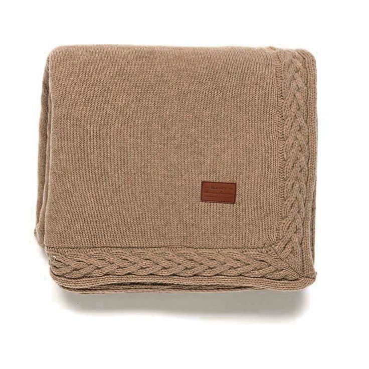 Gant Wool Cable Knit Decke 150 x 200 cm seawood