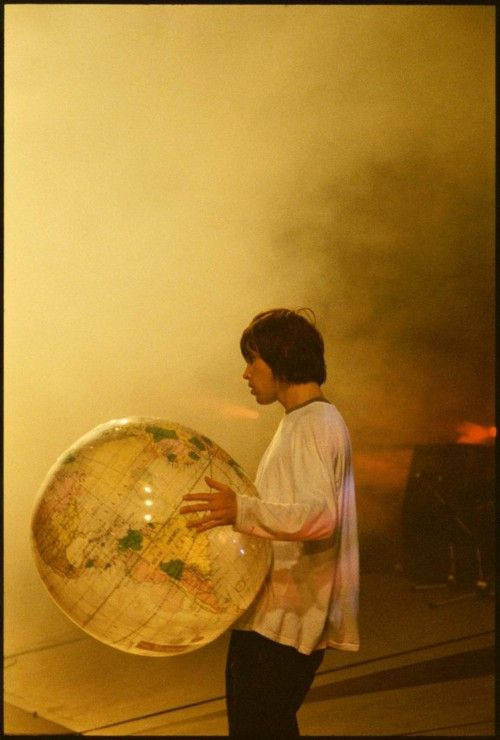 The Stone Roses: Ian Brown at Spike Island, photo Dennis Morris 1990