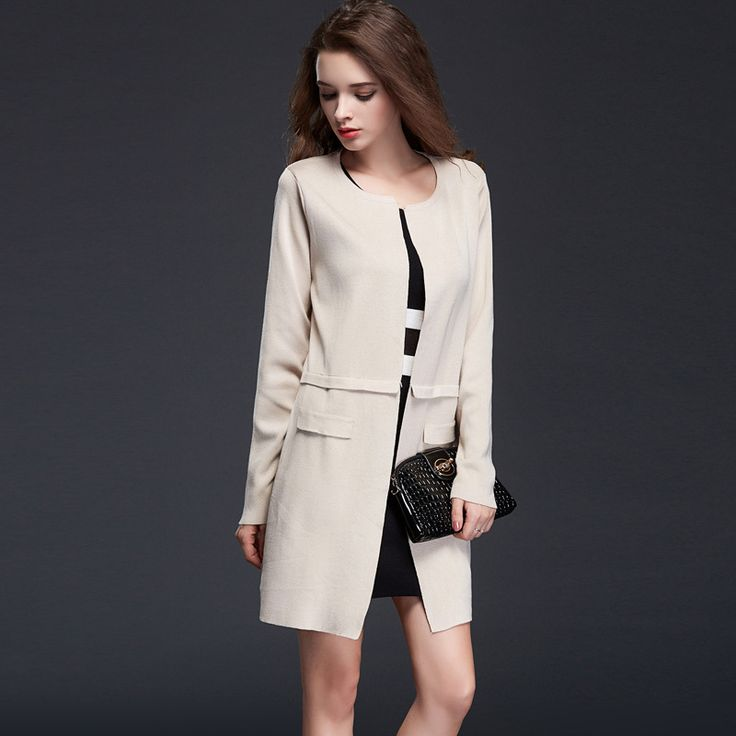 2015 autumn European and American long-sleeved round neck loose big yards female cardigan coat - ExtremShopping for Fashion Electronics Beauty and Health