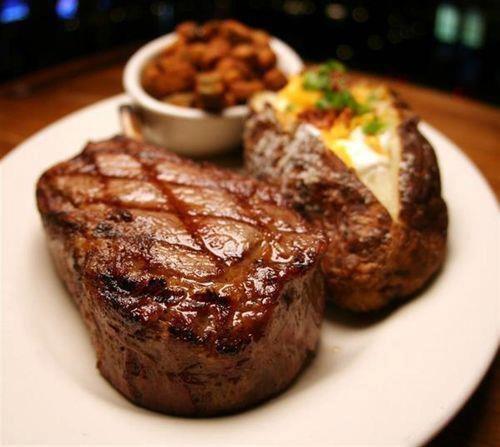 Steak, jacket potato and baked beans