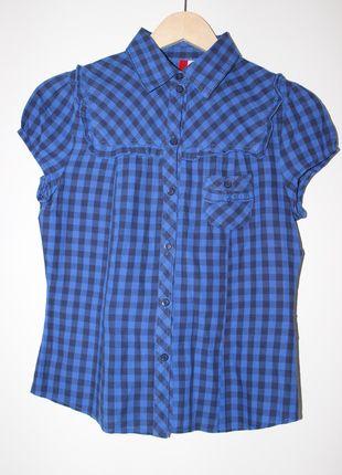 Blau/schwarze karierte Bluse