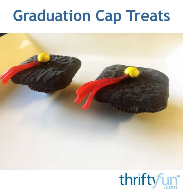 You can make graduation cap treats for your graduate with some cookies and candies. You can have the candy colours match the school's colours. This was for a red and gold school. These are so easy to make and super cute!