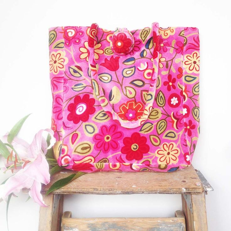 Beautiful pink velvet tote, with colourful  and contemporary screen-printed flower design. www.rosaliving.co.nz www.rosaliving.com.au