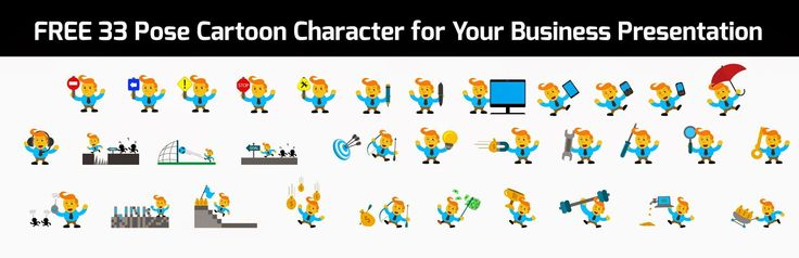 Free Download 33 Pose Cartoon Character for your Business Presentation (ver 250215).