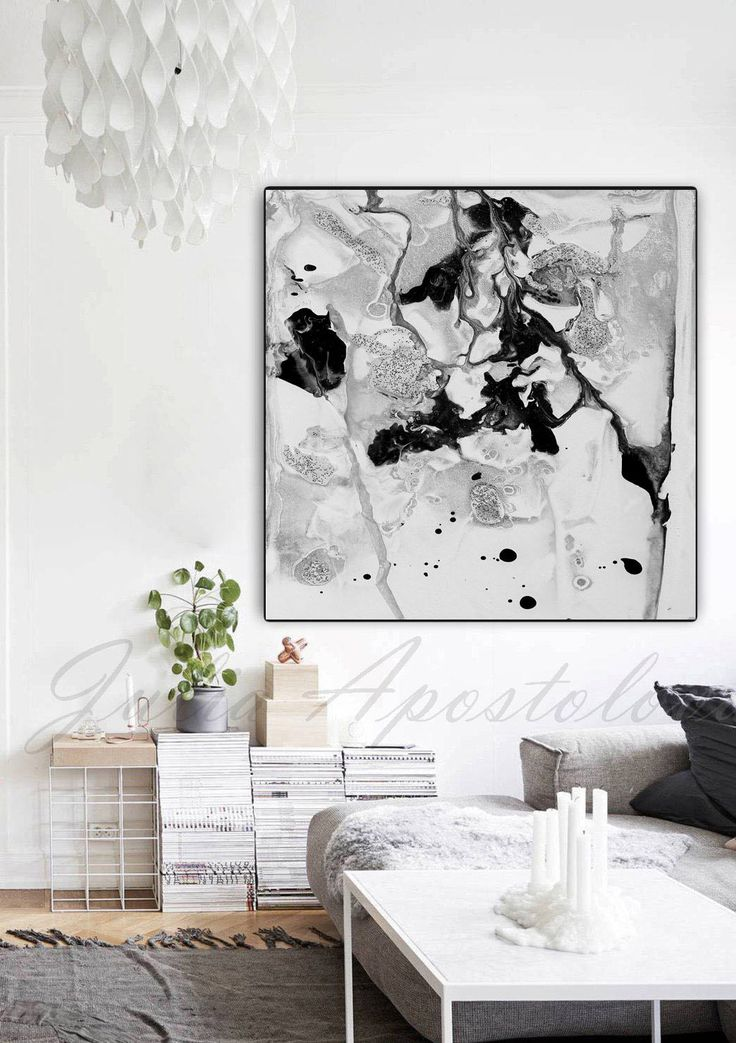 #BlackandWhite #Art #Painting #Print, #WallArt, #AbstractPainting, #Black #White #Canvas, #Large #Wall #AbstractArt, '' #Beneath The #Surface'' by #artist #JuliaApostolova #Etsy #interior #design #decor #decoration #interiordesigner #homedecor #etsyshop #conteporary #modern #minimalart #minimalist