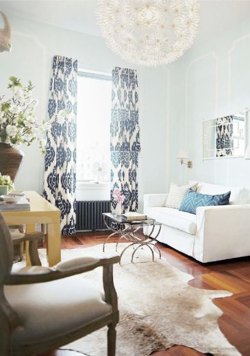 curtains #curtains: Decor, Wall Colors, Curtains, Living Rooms, Lights Fixtures, Blue Wall, Interiors, Cowhide Rugs, House