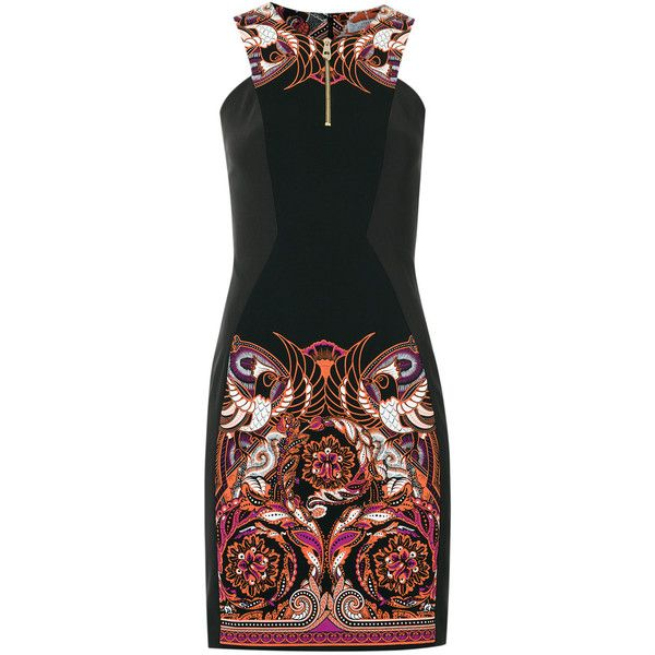 Versace collection - print dress (241.845 HUF) ❤ liked on Polyvore featuring dresses, print dress, mixed print dress, pattern dress, mixed pattern dress and versace