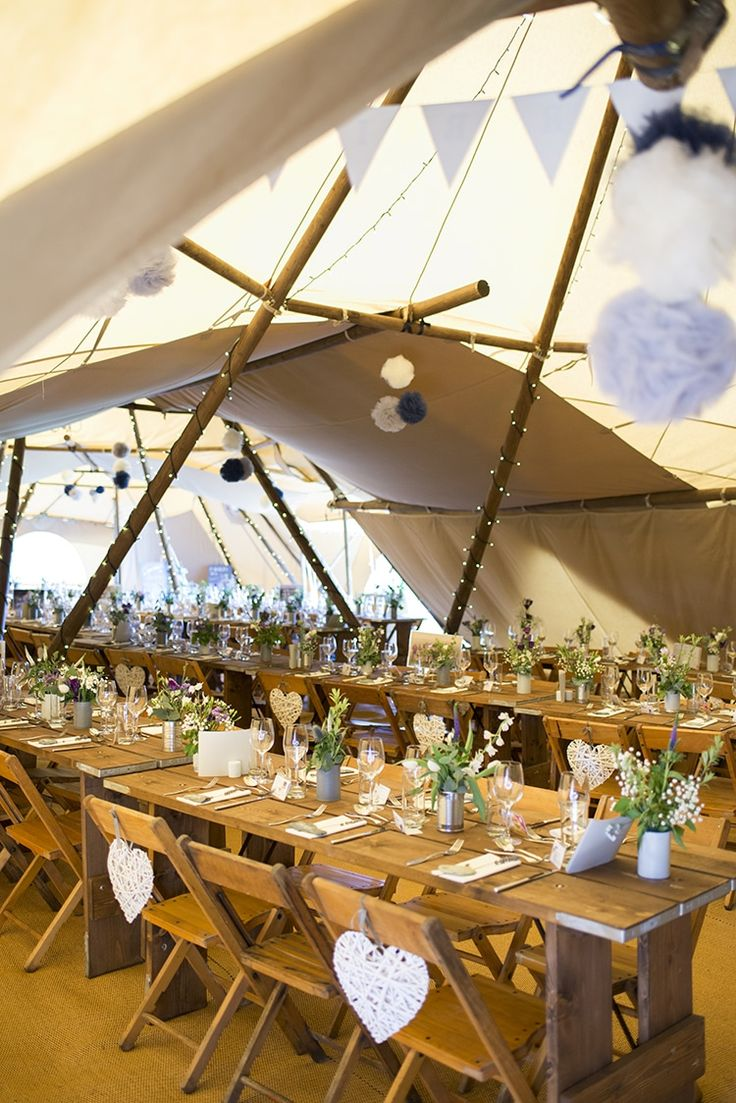Pom Pon Fairy Lights Long Tables Bunting Romantic Country Tipi Wedding http://jodiecoolingphotography.com/