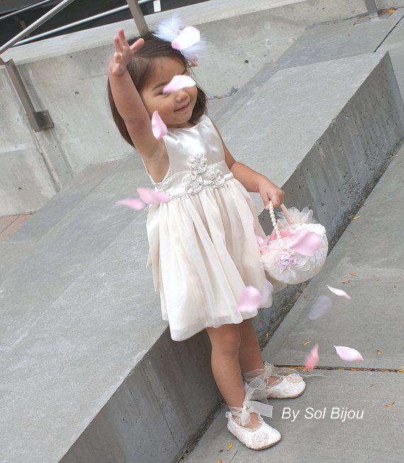Flower Girl Basket Ivory Cream Pink Blush Lace Basket от SolBijou