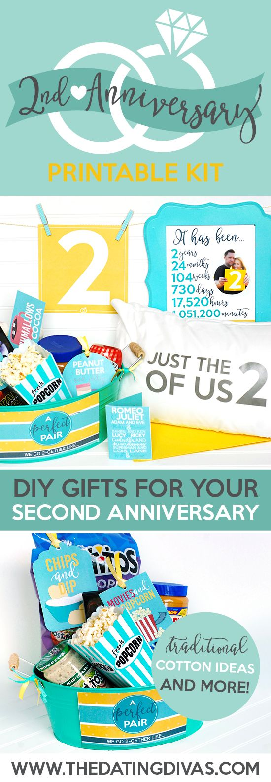 Darling DIY ideas for the second anniversary gift! I love that it's themed and includes a traditional cotton gift!
