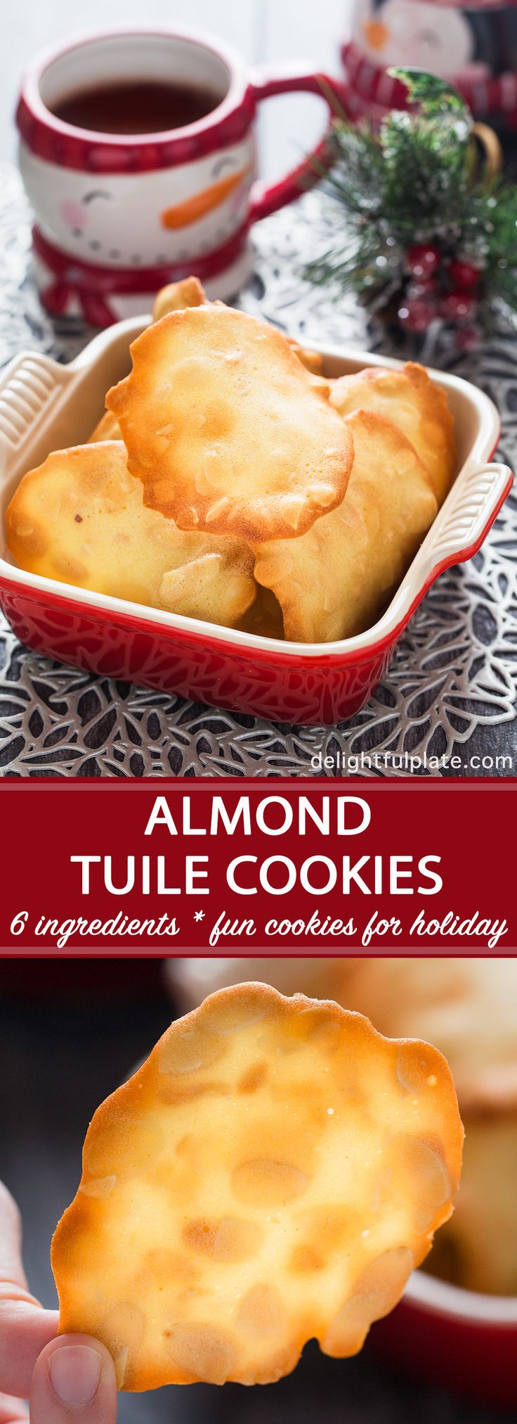 Almond tuile is an elegant French cookie. With just six simple pantry ingredients, you can easily make these crisp, buttery and nutty cookies. They are perfect as everyday cookies as well as cookies for special occasions. #cookie #holiday #baking