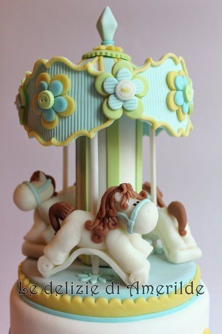 adorable Carousel baby shower cake