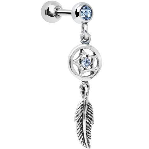 925 Silver Aqua Gem Star Dreamcatcher Dangle Tragus Cartilage Earring