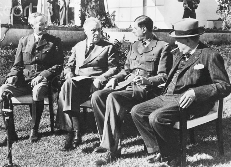 General Henri Giraud, High Commissioner of French Africa, President Roosevelt of the USA and British Prime Minister Churchill with General de Gaulle, Leader of Fighting France during the Casablanca Conference in Morocco, 1943. ★★★★★★★★★★★ http://en.wikipedia.org/wiki/Franklin_D._Roosevelt   http://en.wikipedia.org/wiki/Winston_Churchill     http://en.wikipedia.org/wiki/Charles_de_Gaulle   http://en.wikipedia.org/wiki/Henri_Giraud