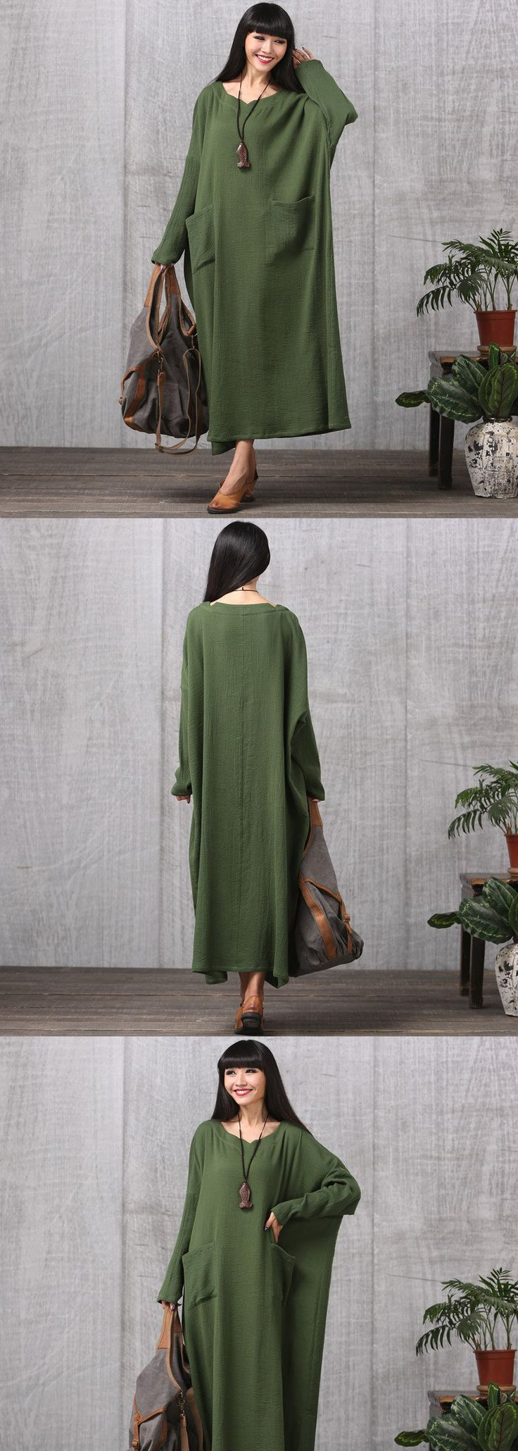 Plus Size Cotton Linen Casual Long Sleeve Autumn Dress $79.00
