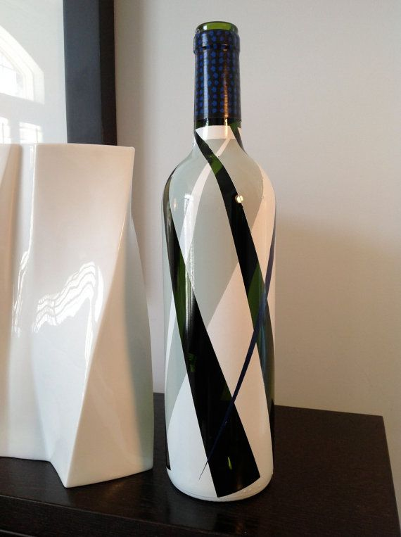 Carmen - up-cycled hand painted wine bottle