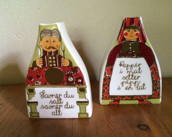 Vintage Figgjo Flint Turi design Folklore zout en door kunstmus