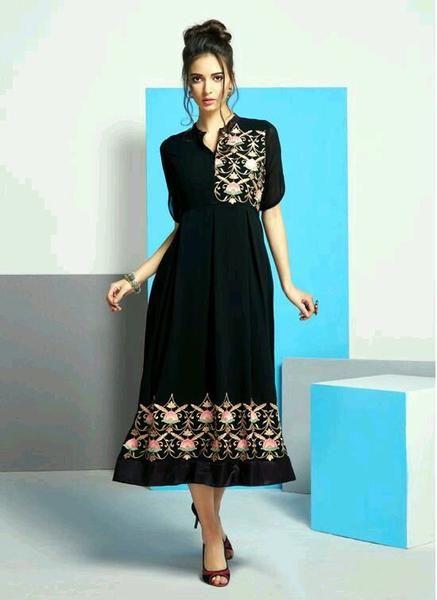 Eid- Sale: Black Color Designer Kurtis #kurtis&kurtas #designer kurtis available at ladyindia.com