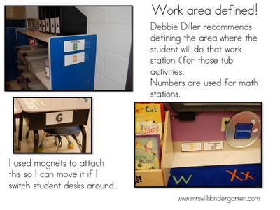 define work station areas - letters for LA, #'s for math
