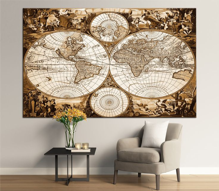 Antique World Map Double Hemisphere Canvas Panels Set, Large Vintage World Map Print, Detailed World Map Wall Art for Home & Office Decor by CanvasPrintStudio on Etsy
