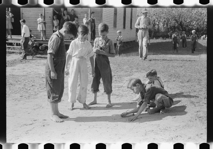 Mountain children playing marbles after school in Breathitt County, Kentucky Marion Post Wolcott September 1940