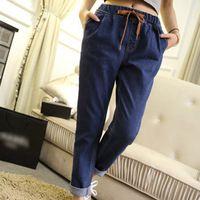 2016 Новый стиль шаровары женские джинсы Большой размер 2XL 3XL свободного покроя синие джинсы широкий длинные брюки FW32